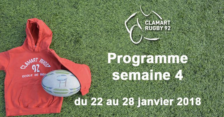 Clamart Rugby 92 Programme de la semaine 4