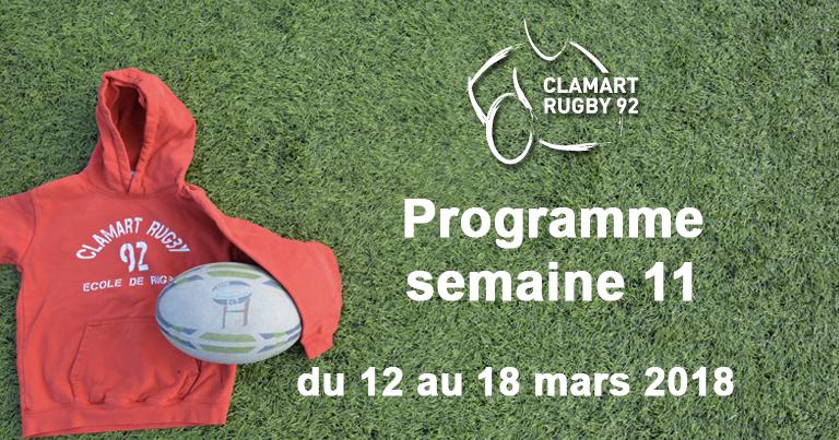 Clamart Rugby 92 Programme de la semaine 11