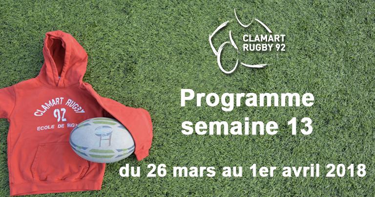 Clamart Rugby 92 Programme de la semaine 13
